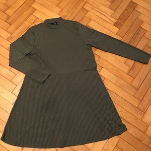 Olive Green Mock Neck Ribbed Dress